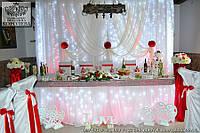 Свадебное оформление президиума молодых и зала