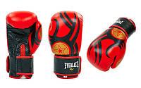 Перчатки боксерские кожаные на липучке EVERLAST черно-красный