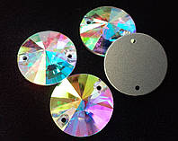Стразы пришивные Копия Сваровски, Риволи (круг) d22 мм Crystal AB, стекло