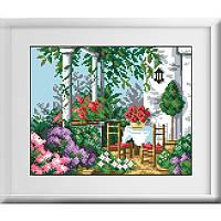 Алмазная мозаика квадратными камнями «Летняя терасса» Dream Art 30156 (30 х 24 см) на холсте