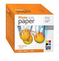 Фотопапір ColorWay глянцевий 180 г/м², 10х15, 500 арк. (PG1805004R)