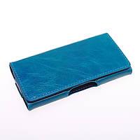 Чехол кожа натуральная 5 дюймов книжка синий