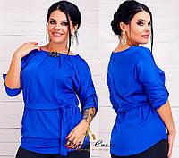 Женская блуза шелковая с брошкой батал