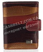 Кожаная лаковая стильная прочная визитница под кожу рептилии H.VERDE art. 2107-B51 разноцветная