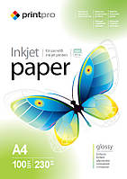 Фотопапір PrintPro глянцевий 230 г/м², А4, 100 арк. (PGE230100A4)