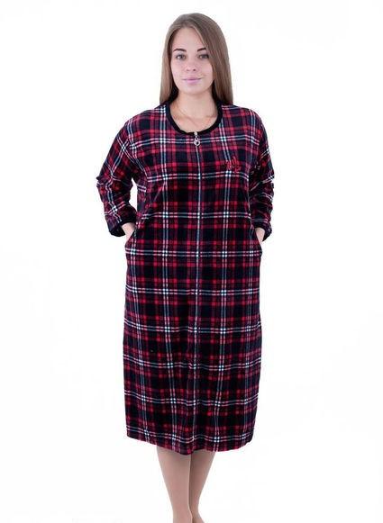 Женский халат велюровый больших размеров Шотландская клетка