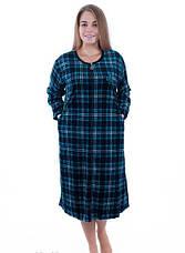 Женский халат велюровый больших размеров Шотландская клетка, фото 2