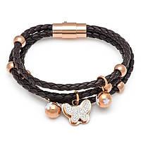 Браслет кожаный коричневый  женский с бабочкой и фианитами