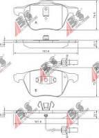 Гальмівні колодки передні з датчиком (R16, 161.4x72.8x19.6mm) VW T4 00-03 37240 ABS (Нідерланди)