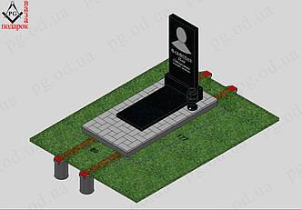 Памятник одинарный с установкой №1 + плита