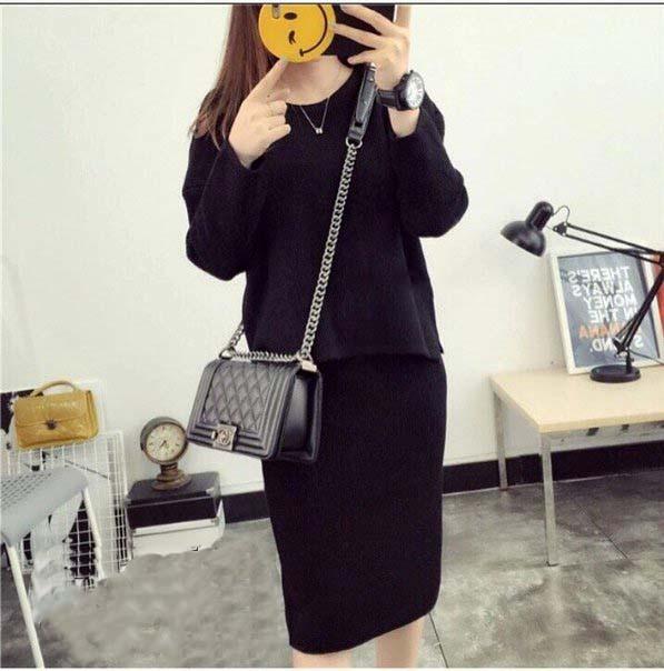 Черный костюм кофта и юбка размер S