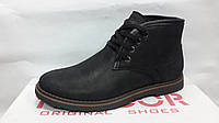 Мужские черные кожаные зимние ботинки.