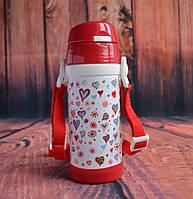 Термос детский с трубочкой красный 0,32 л., фото 1