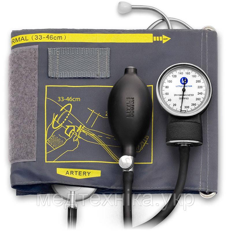 Тонометр механический Little Doctor LD-60 со встроенным фонендоскопом, увеличенная манжета 33 - 46см, Сингапур
