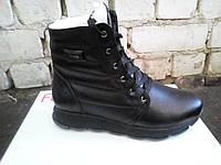 Черные женские кожаные зимние ботинки . Украина