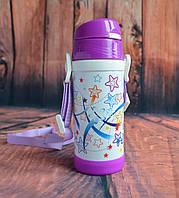 Термос детский с трубочкой фиолетовый 0,32л, фото 1