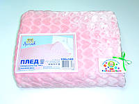 Детский флисовый плед (розовый с сердечками)