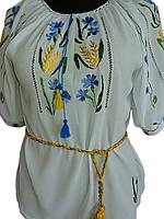 Жіноча вишита блузка з волошками та колосками (Женская вышитая блузка с васильками и колосками) BN-0024