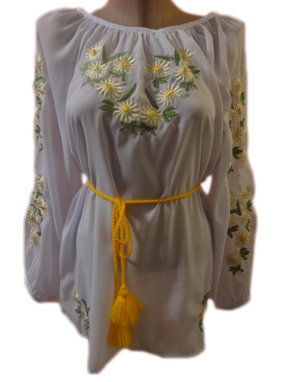"Жіноча вишита сорочка (блузка) ""Ніжні ромашки"" (Женская вышитая рубашка (блузка) ""Нежные ромашки"") BN-0003"