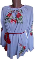 "Жіноча вишита блузка ""Червоні лілії"" (Женская вышитая блузка ""Красные лилии"") BN-0016"