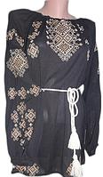Жіноча вишита блузка з орнаментом золотого кольору (Женская вышитая блузка с орнаментом золотого цвета) BN-002