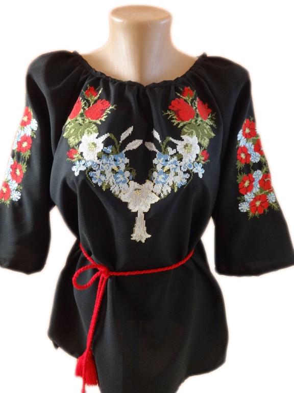 """Жіноча вишита сорочка (блузка) """"Квітковий розмай"""" (Женская вышитая рубашка (блузка) """"Цветочное разнообразие"""") BN-0022"""