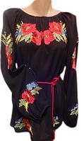 Жіноча вишита блузка з українськими квітами (Женская вышитая блузка с украинскими цветами) BN-0029