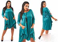 """Элегантное женское платье в больших размерах """"Искусственный Замш"""" (87-449)"""