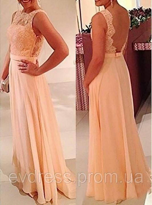 7eca3f6614f Нарядное красивое вечернее платье нежно персикового цвета из гипюра и  шифона DM-1986-2