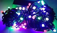 Четырех цветная,лед гирлянда нить на 100 LED ламп в виде шарика 4мм,черный кабель,6м