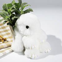 Мягкая игрушка  кролик натуральный мех белый 14 см