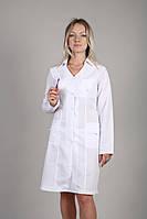 Белый женский медицинский халат с длинным рукавом