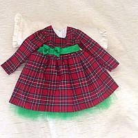 Теплое нарядное платье в клетку