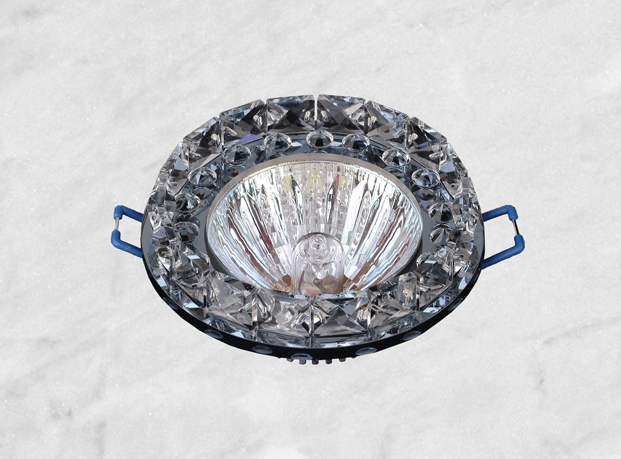 Точечный стеклянный врезной светильник (16-228 чёрный)
