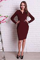 Нарядное бордовое платье с карманами