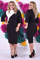 Блуза женская батал элегантная с диагональным раскрасом офисный стиль
