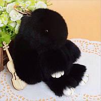 Мягкая игрушка кролик натуральный мех черный