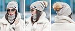 Женский стильный комплект: шапка с бубоном из енота и хомут (4 цвета), фото 2