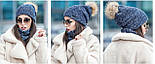 Жіночий стильний комплект: шапка з бубоном з єнота і хомут (4 кольори), фото 4