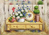 """Схема для вышивки бисером на подрамнике (холст) """"Натюрморт с садовыми цветами"""""""