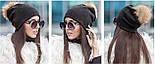 Женская модная шапка со старазами и мехом енота (5 цветов), фото 2