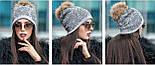 Женская модная шапка со старазами и мехом енота (5 цветов), фото 3