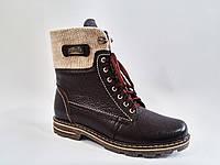 Кожаные женские зимние коричневые стильные удобные ботинки 41 Topas