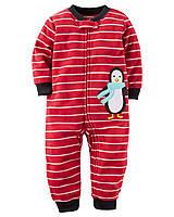 Человечек флисовый Carters для мальчика полоска Пингвинчик , Размер 24м, Размер 24м