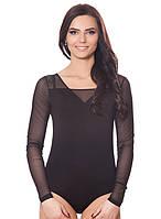 Красивое нарядное женское черное боди комбидресс с гипюровыми рукавами