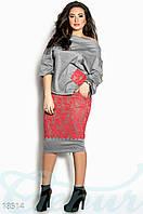 Костюм плюс сайз. Кофта и юбка. Цвет серо-коралловый.