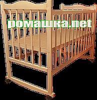 """Детская кроватка """"КФ"""", дерево ольха, колесика, качалки, опускающийся бортик, цвет натуральный (светлый)"""