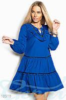 Свободное винтажное платье. Цвет синий электрик.