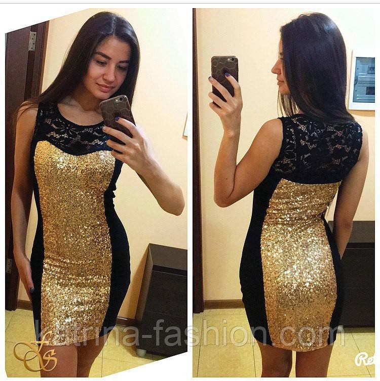 Женское стильное платье с пайеткой