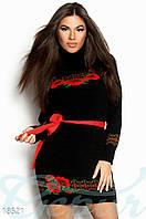 Теплое этно платье. Цвет черный с яркими цветами